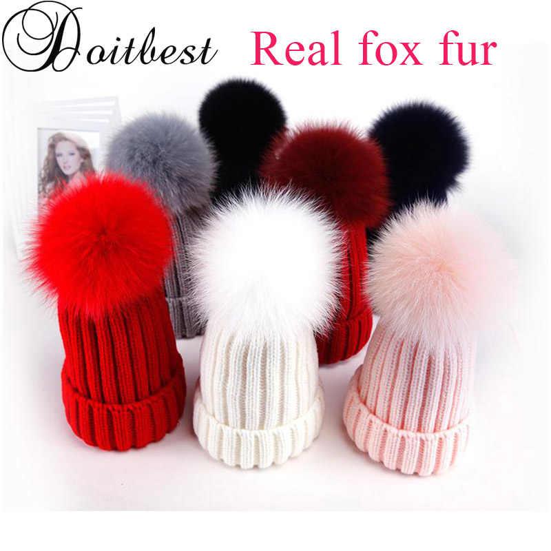 Doitbest จริง Fox ขนสัตว์ฤดูหนาวหมวกสำหรับหญิง pompom หมวก Beanies ถักสตรีขนสัตว์ pom pom หมวกผู้ปกครอง - เด็ก beanie