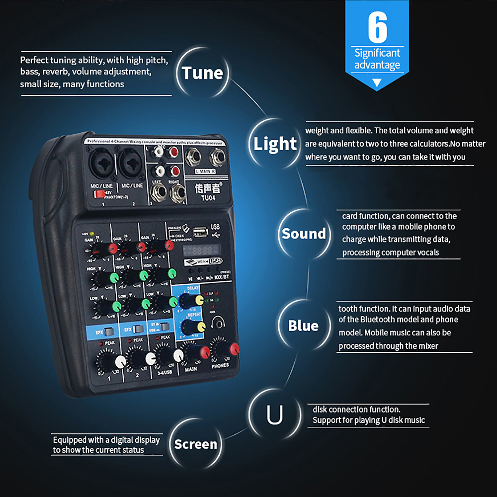 FELYBY TU04 mixer with Bluetooth USB and sound card function mixer for recording voice activated radio in Microphone Accessories from Consumer Electronics