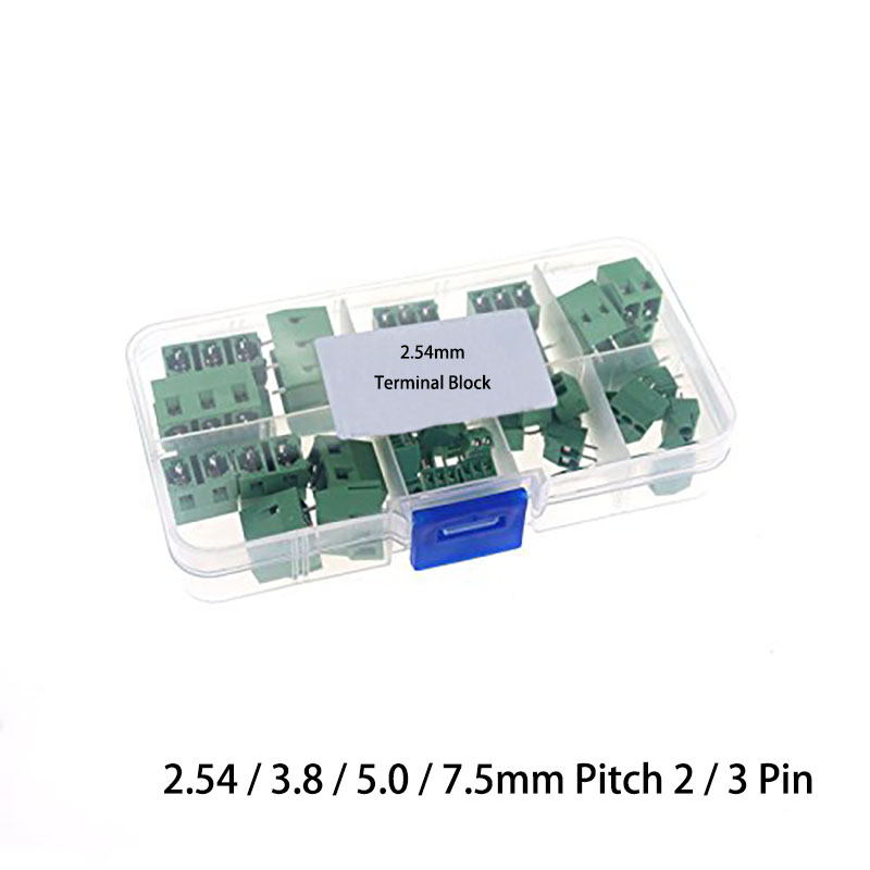 Pack of 2 3 Position Screw Barrier Strip Terminal Din Rail w// Cover 15A//250V