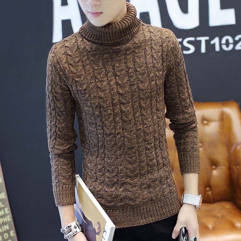 Autumn And Winter Men's Thick-soled Warm Turtleneck Sweater, Personalized Fashion Embroidery Slim Wild Knit Bottoming Shirt