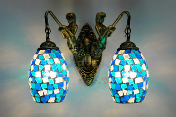 European blue glass mermaid wall lamp retro pastoral minimalist living room bedroom wall light