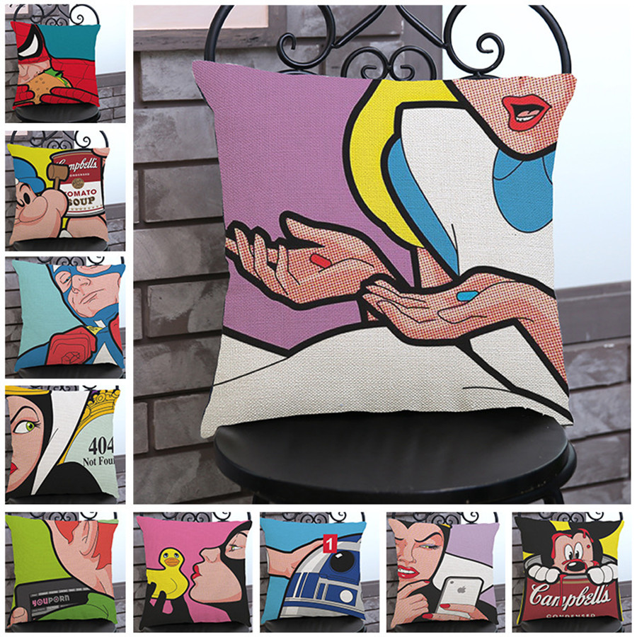 Fashion High Quality Cotton Linen American Anime Pop Art Printing Car Decorative Throw Pillowcase Cushion Sofa Home Decor