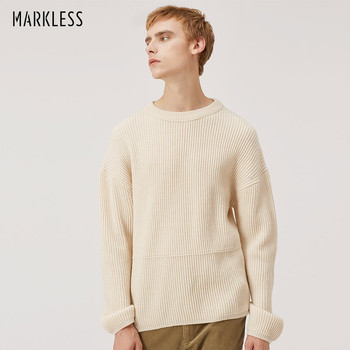 Markless O-neck Wool Sweaters Men 2018 Winter Thick Warm Pullover Sweater sueter hombre Fashion Loose pull homme MSA8702M markless o neck sweater men 100% cotton winter warm stripe sweaters pullover men christmas pull homme sueter hombre msa3710m