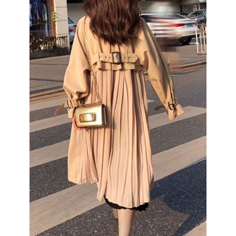 2019 Fall Elegant Korean Style Casual Khaki Women Long   Trench   Coats Thin Lace Up Plain Office Ladies Autumn Female Overcoats