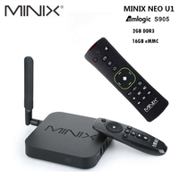 Original MINIX NEO U1 Android TV Box Amlogic S905 Quad Core 2G/16G 802.11 2.4/5GHz WiFi H.265 HEVC 4K Ultra HD Smart TV Box
