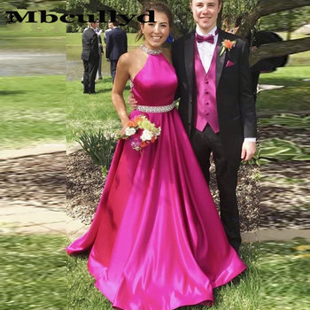 Mbcullyd Sparkle Crystal Beaded Fushia Prom Dresses 2020 New Sexy Halter With Pocket Prom Gowns Cheap Sale Dress For Graduation
