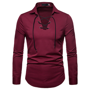 Image 2 - Scottish Jacobite Ghillie Kilt Shirt Men Chemise Homme 2018 Fashion Slim Fit Solid Color Long Sleeve Tuxedo Dress Shirt Mens Top