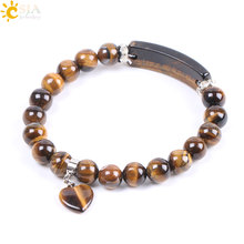 CSJA Natural Stone Beads Tiger Eye Men Strand Bracelets & Bangles Heart Shape Silver-color Fitting Women Jewelry Love Gifts F105(China)