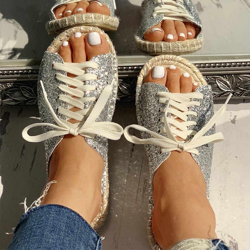 Kadın Dantel Up Kenevir Düz Espadrille yazlık terlik Bayanlar Payetli Bez Hasır rahat ayakkabılar Kadın Moda Slaytlar Yeni Ayakkabı