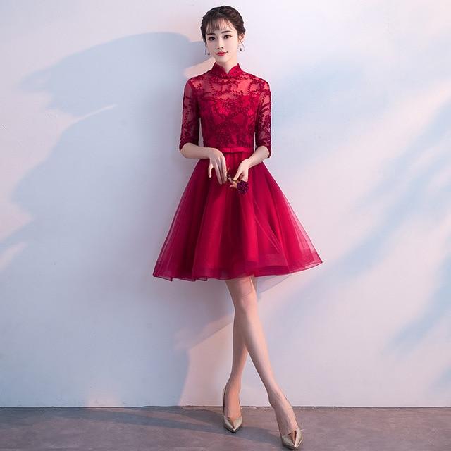 Bride Cheongsam Oriental Womens Wedding Qipao Short Sleeve Party Dress Chinese Style Elegant Long Robe Clothes Vestido XS-XXXL