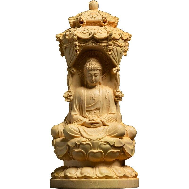 Three Sides Amitabha,Guanyin,Bodhisattva Buxus Wood Carving Western Thress Gods Wood Home Buddha Statue Solid Wood Ornaments