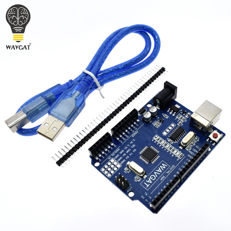 WAVGAT high quality One set UNO R3 (CH340G) MEGA328P for Arduino UNO R3 + USB CABLE ATMEGA328P-AU Development board atmega328p mcu development board compatible with uno r3 io expansion shield sensors pack uno plus package a