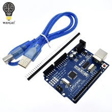 цена на high quality One set UNO R3 (CH340G) MEGA328P for Arduino UNO R3 + USB CABLE ATMEGA328P-AU Development board