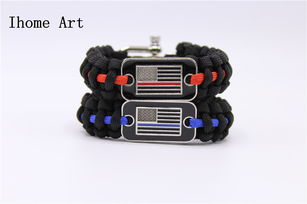 Arts,crafts & Sewing Apparel Sewing & Fabric Thin Blue Line Usa Flag Police Paracord Bracelet Support Lives Thin Red Line Us America Flag Paracord Survival Armband Bangle