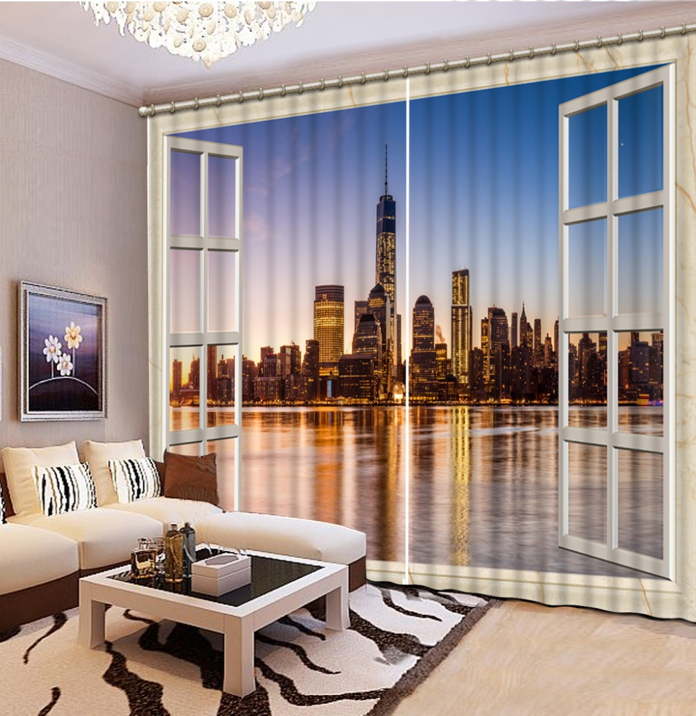 Photo 3D Curtains for Living Room Window city night view curtains in Curtains from Home Garden