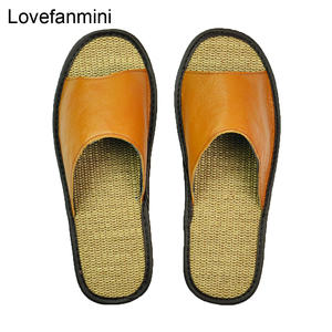 Image 2 - Genuine Cow Leather slippers couple indoor non slip men women home fashion casual single shoes TPR soft soles spring summer 510m