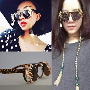 Vazrobe Clip on Sun Glasses Rhinestone Pearl Sunglasses Woman Luxury Brand 2017 Circular Welding Goggles Hip Hop Female Leopard Чокер