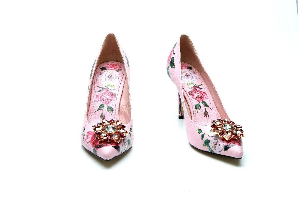 Floral Punta En Flores Impresión Lujo Tacones As Gladiador Rosa Resbalón Estrecha 2018 De Moda Crystal Decoración Bombas Picture Mujeres A6pxB