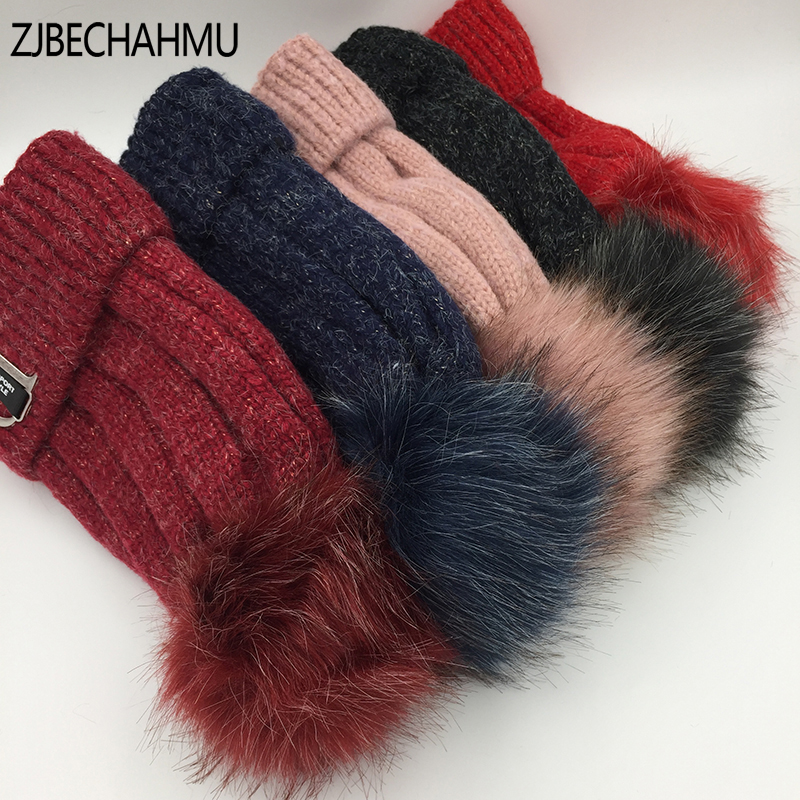 Fashion Winter Skullies Hats Thickened Cotton WOOL Women's Hat Warm Pom Poms Hats For Women Girl Knitted Beanies Female Cap knitted skullies cap the new winter all match thickened wool hat knitted cap children cap mz081