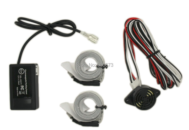 Free shipping Car Reverse Backup Radar Electromagnetic parking sensor,with 2 antennas tapes,no drilled Parking Assistance