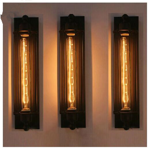 Lampe Murale Nordique Vintage En Métal Longue Cage E27 Edison
