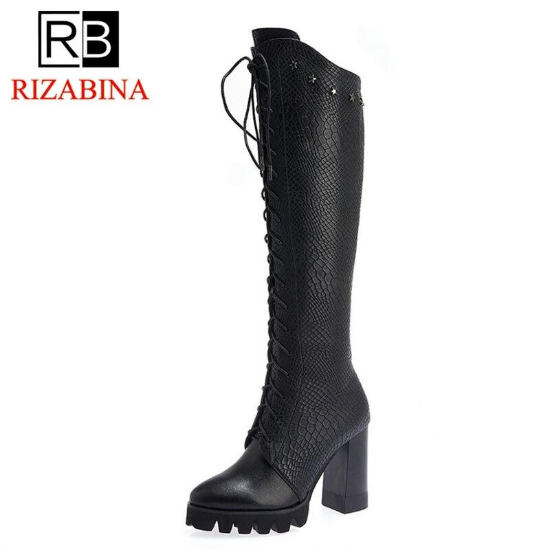 RIZABINA Women Knee Boots Genuine Leather Lace Up Winter Woman Shoes Fur Warm Long Boots Platform