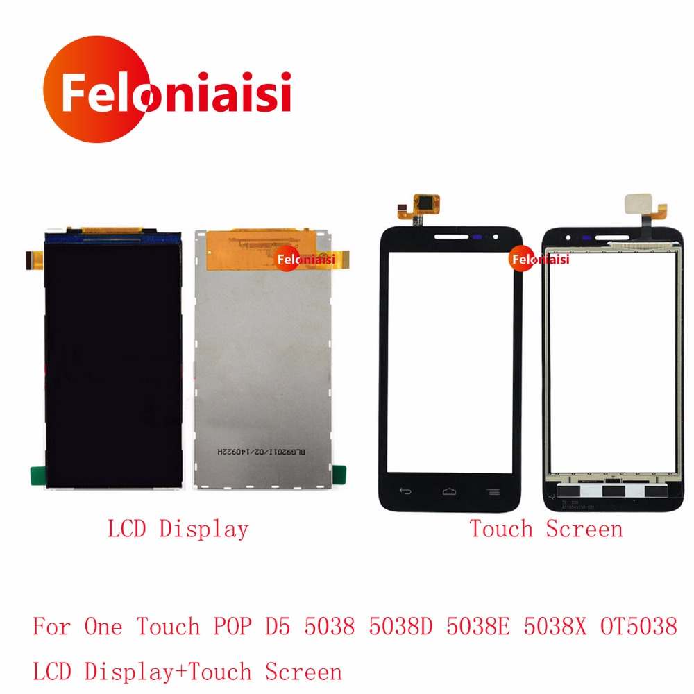AAA 4.5'' For Alcatel One Touch POP D5 5038 OT5038 5038D Lcd Display With Touch Screen Digitizer Sensor Outer Glass Lens Panel