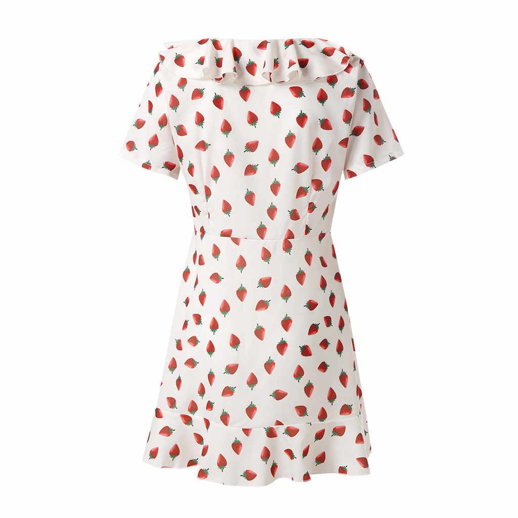 Сексуальное платье Летнее женское милое асимметричное платье сексуальное фруктовое платье с коротким рукавом с v-образным вырезом и рюшами Короткое платье роковой