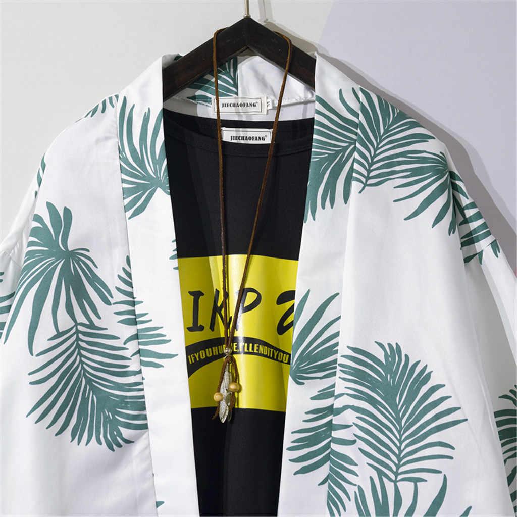 Летняя мужская рубашка Camisa, модный кардиган-кимоно с длинным рукавом, Повседневная пляжная мужская блуза с принтом, топ, уличная одежда Camisa masculina