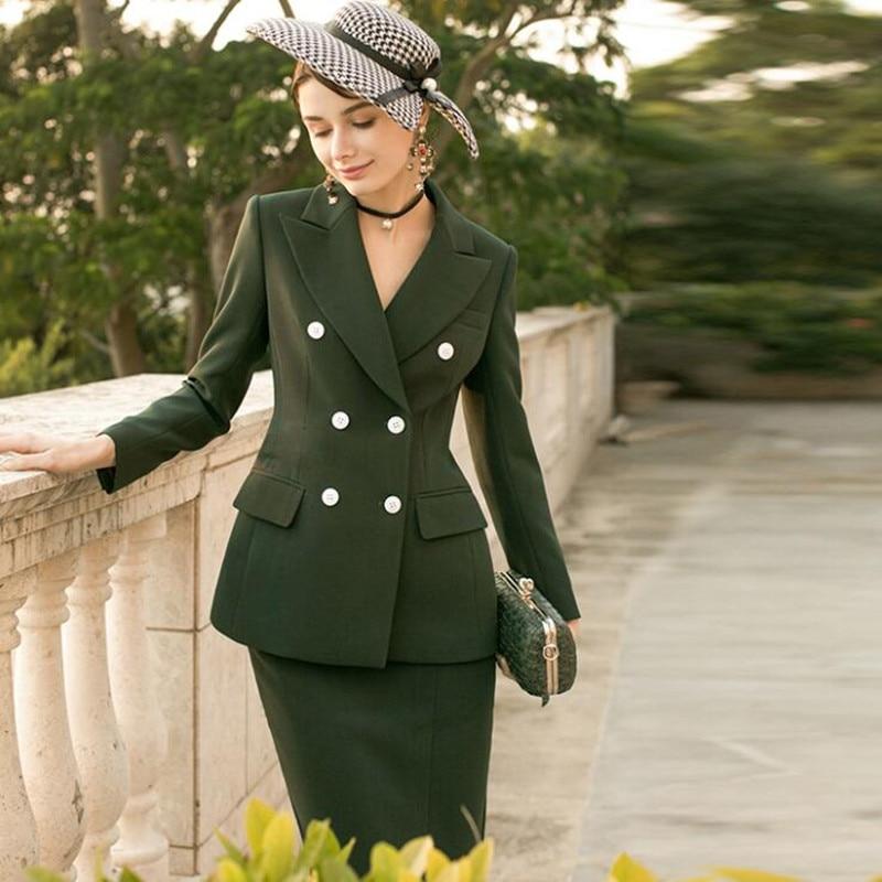 2020 New Arrival Skirt Suits Women Two Piece Set Elegant Office Lady Formal Work Wear Vintage Blazer Suit Jacket Skirt Uniform