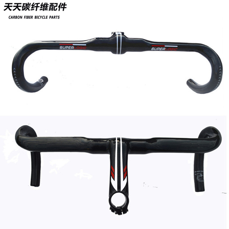 Full superlogic carbon fiber highway road bicycle handlebar benr bar Integrated Handlebar with stem superlight 260g 3k finish