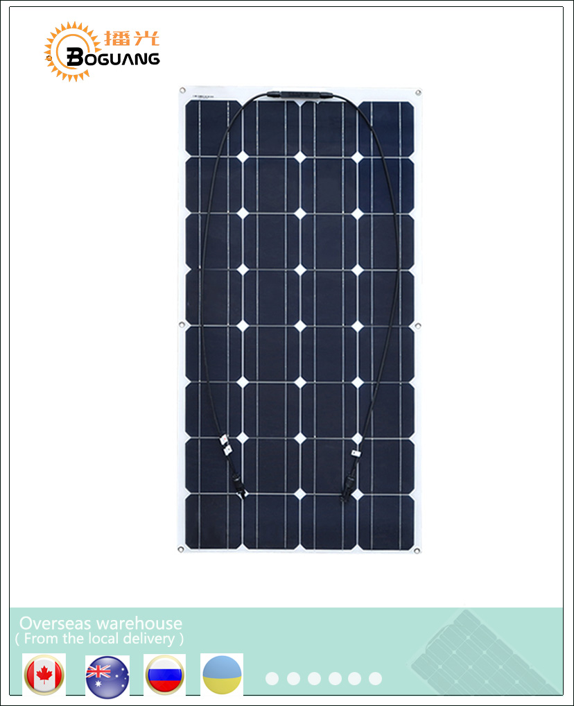 BOGUANG 18V 100W Flexible Solar Panel efficient Mono Cell Module kit Yacht RV Boat 12V Battery Car Charger china manufacturer sp 36 120w 12v semi flexible monocrystalline solar panel waterproof high conversion efficiency for rv boat car 1 5m cable