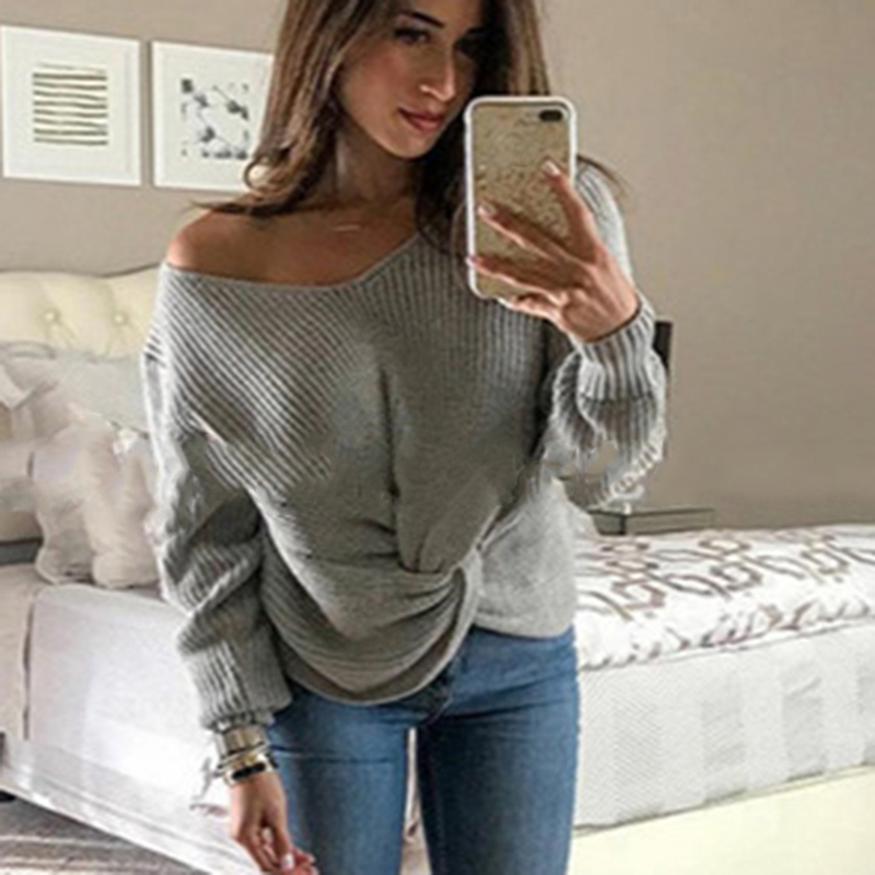 Sexy Cross Knotted Sweater Long Sleeve Solid V-neck Knitted Sweater Women Pullovers jersey mujer streetwear