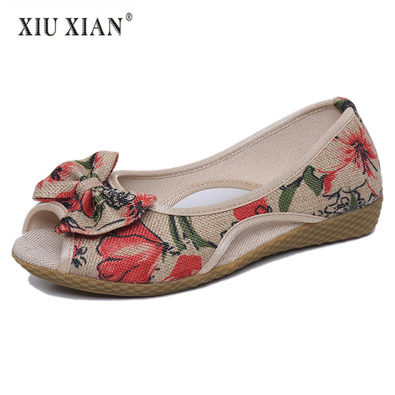 2018 New Ethnic Print Flower Hemp Women Flats Peep Toe Bow Knot Shallow Thick Bottom Mother Shoes Hot Sale Comfort Leisure Shoes