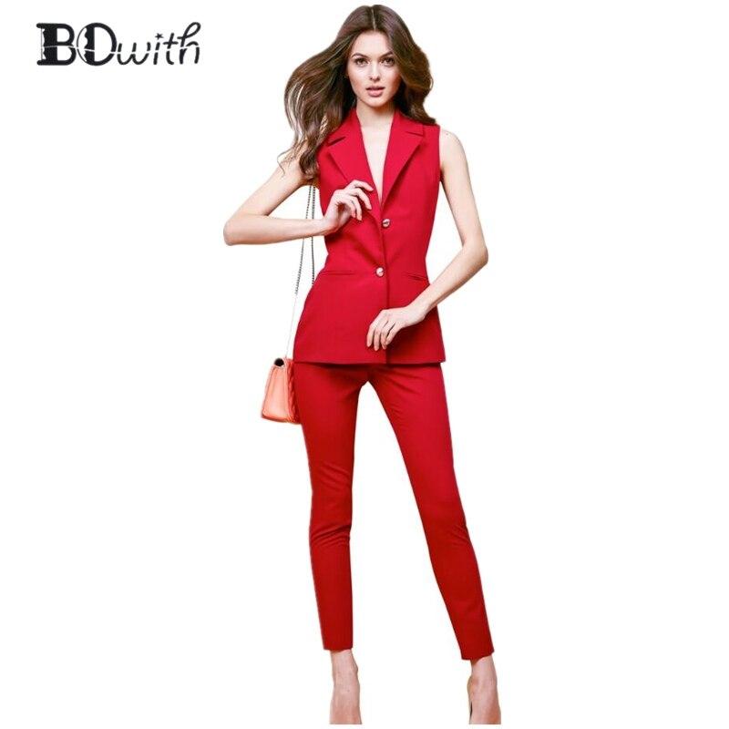 d88484e228a0 003 006 Ed Pezzi Senza giacca 001 009 Maniche 008 Rosso Business 010 Professional  Donne Pantalone ...