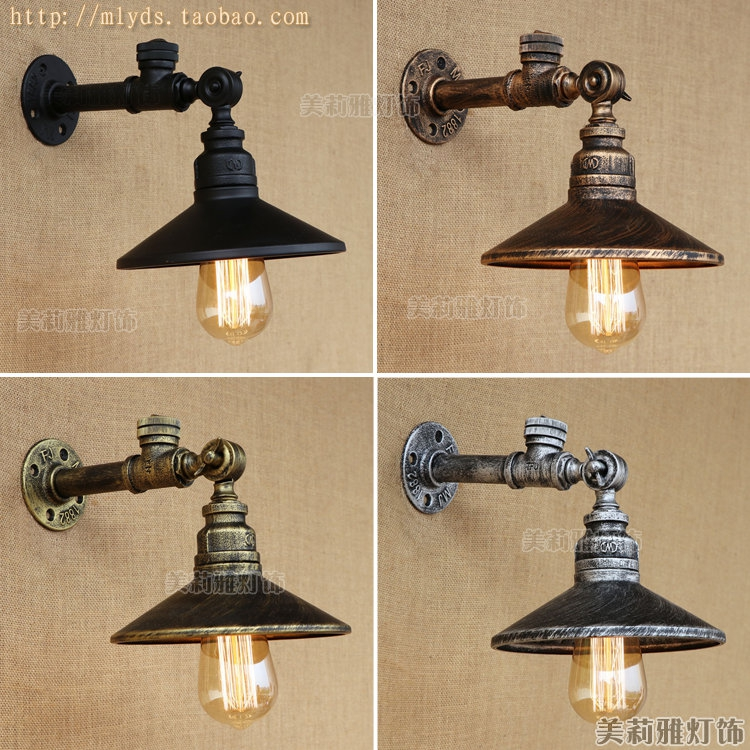 American Iron Retro Loft Industrial Wall Lamp Vintage Water Pipe Lamp Stair Light Fixtures Edison Wall Sconces Aplique Murale цена