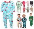 Crianças carta meninos e meninas velo Siamese escalada roupas com pé quente pijama collant bebê saco Romper peido subida longa