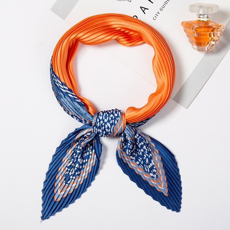 2020 New Female Pleated Scarf Stain Hair Neck Scarfs For Ladies Silk Crinkle Scarves Neck Tie Foulard Headband