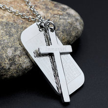 youe shone Men's Stainless Steel Cross Pendant Silver Dog Tag Cross Necklace English Bible Epigraph For Lords Prayer(China)