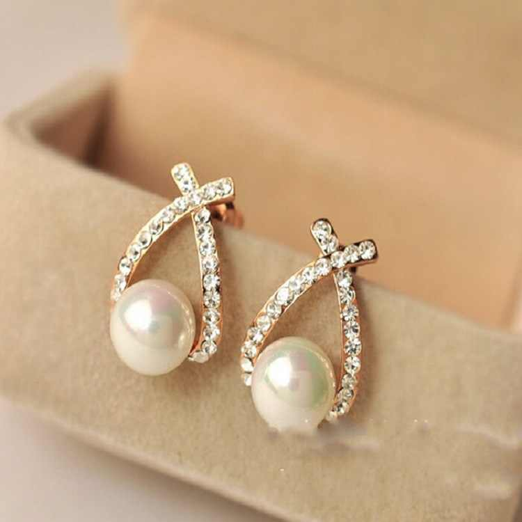 Punk Fashion New 2018 Gold Crystal Cross Pearl Earrings Beautiful Goddess Bride Earrings Wholesale Sale Nice Shopping!!