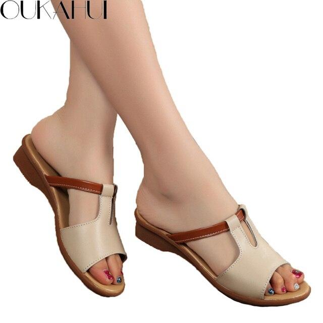 OKAHUI 2019 Genuine Leather Flip Flop Sandals For Women Summer Shoes Elegant Flat Low Heel Fashion Outdoor Slides Women Slippers