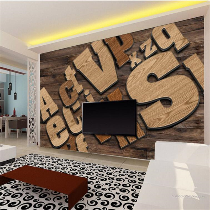 Beibehang Custom Tapete 3d Stereo Foto Wandbild Holz Englisch Brief