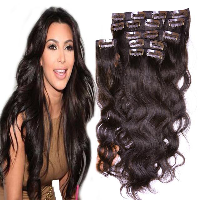 Brasileiro virgem grampo de cabelo em extensões de cabelo humano 70 g - 220 g grampo em extensões do cabelo Remy brasileiro grampo de cabelo