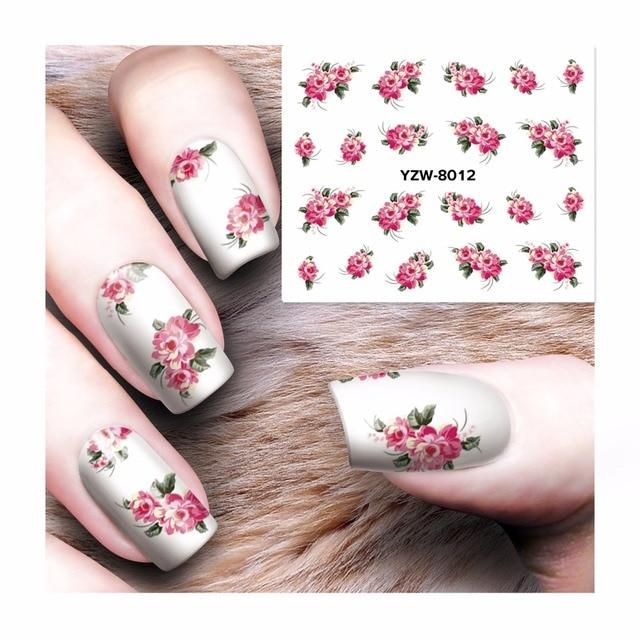 ZKO 1 Sheet Nail Art Water Tattoo Design Nails Flower Design Water ...