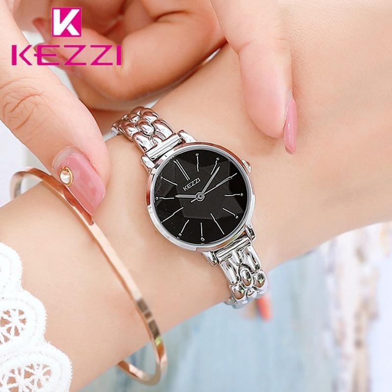 KEZZI Simple Femmes En Acier Inoxydable Bracelet Montres Dames Multi Surface De Coupe Miroir Petit Dail Quartz Montre 3 Couleurs