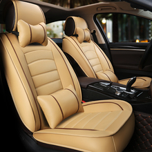 KKYSYELVA  PU Leather Car Seat Cushion Covers Set Auto for Styling Interior Accessories