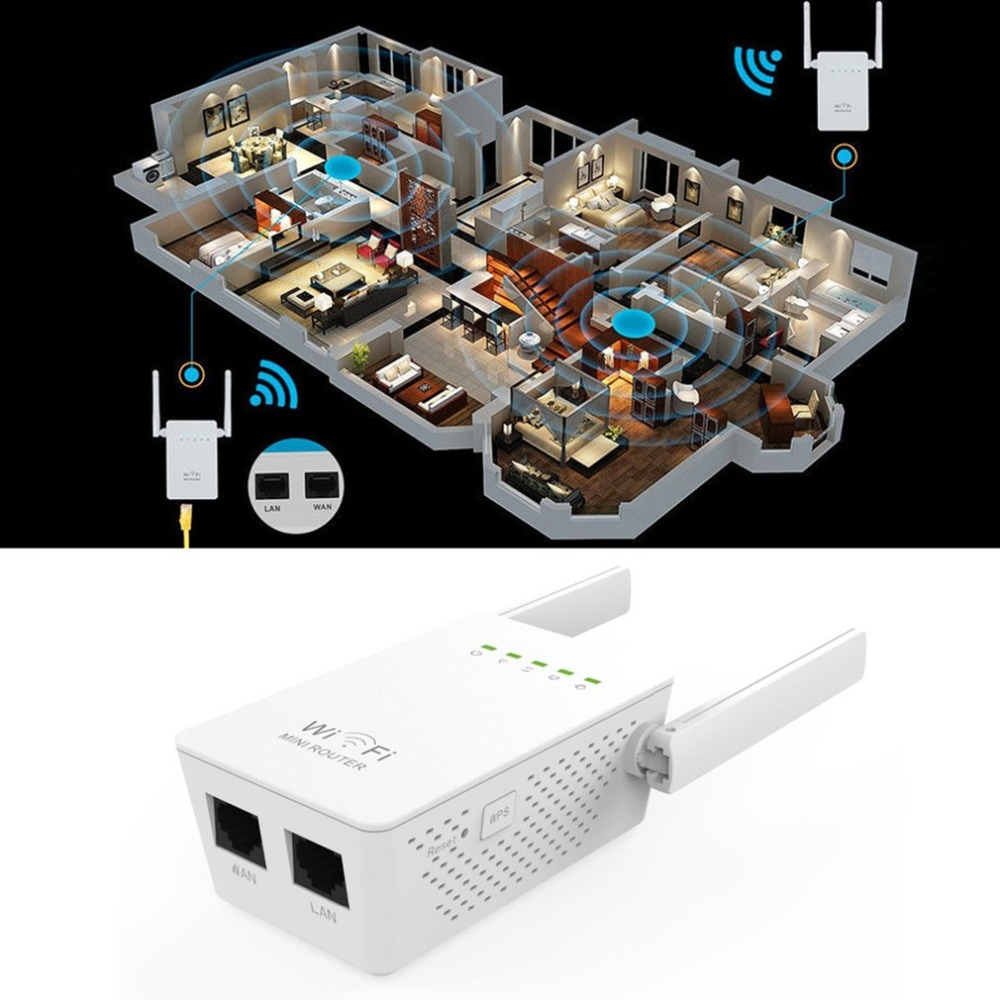 Small Size WiFi Range Extender 300Mbps High Gain Universal Wireless-N AP/Repeater WIFI Router Dual Aerials US