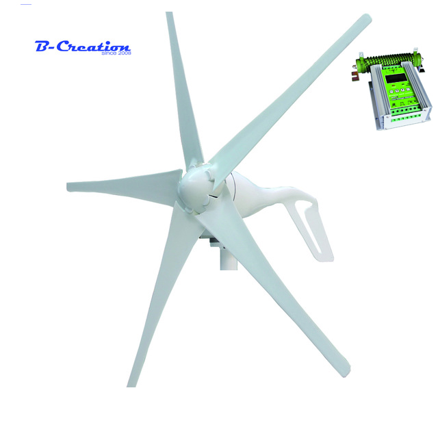 400w wind turbine Max power 600w 5 blades small wind mill low start up wind generator + 450w MPPT wind solar hybrid controller wind