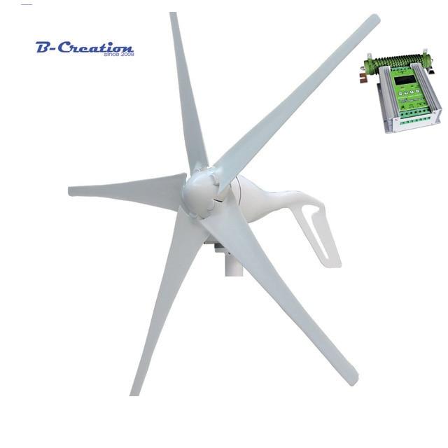 цена на 400w wind turbine Max power 600w 5 blades small wind mill low start up wind generator + 450w MPPT wind solar hybrid controller
