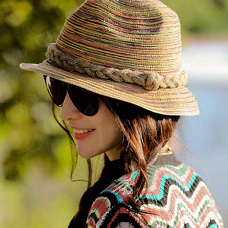 2018 New Lady Fashion Summer Brand Womens Sun Hats Woman Cap Holiday Hot Straw Hemp Rope Big Brim Shade Sunscreen Girl